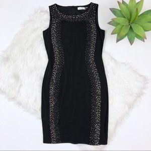 [Calvin Klein] Black Sheath Dress Rhinestone Side